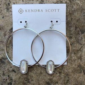 Authentic Kendra Scott elora hoops earrings silver
